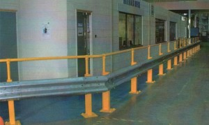 Armco crash barriers with handrail